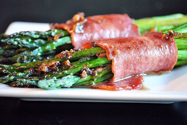 Reel Flavor: Asparagus Wrapped w/ Turkey Bacon (forego the butter/sugar sauce and try sprinkling with balsamic vinegar when you serve it!)