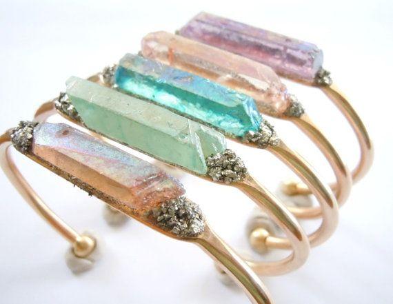 Springtime - Raw Crystal Cuff Bracelet - Boho Chic- Bridesmaid -Wedding Jewelry -