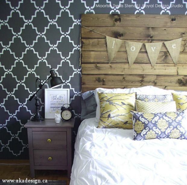 bedroom stencil ideas. Hottest Trend in Home Decor  9 DIY Ideas for Glam Black Painted Stenciled Walls 424 best images on Pinterest