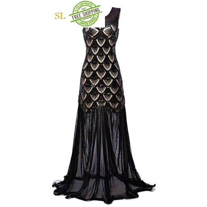 f98855c3e8 1920s Dresses Sequin Mermaid Long Gown V-Back Beads Evening Prom in ...