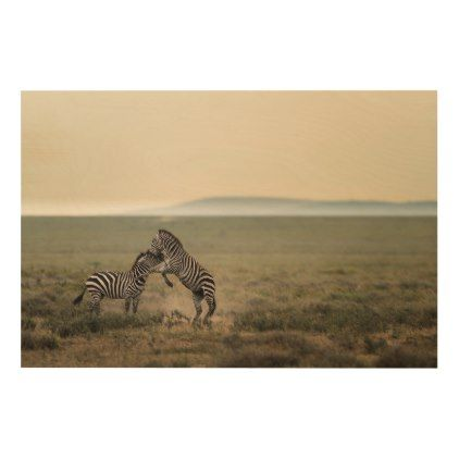 Two Plains Zebras Wood Wall Decor - stripes gifts cyo unique style