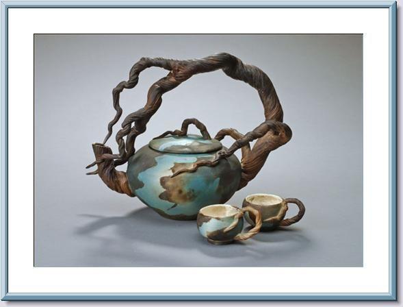 Cypress Bonsai Tree Tea Pot Sculpture.