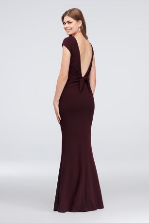 4fe8f2c64f3 Cap-Sleeve Crepe Sheath Gown with Deep-V Bow Back X37241DNE