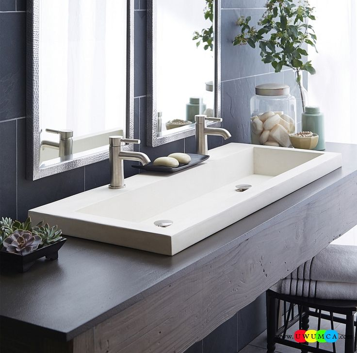 Bathroom:Contemporary Modern Artisan Crafted Sinks Handcrafted Vessel Metal Sink Bathroom Interior Furniture Decor Design Ideas Trough Sink From Native Trails In White Eco-Conscious, Artisan Crafted Sinks Sparkle With Contemporary Class