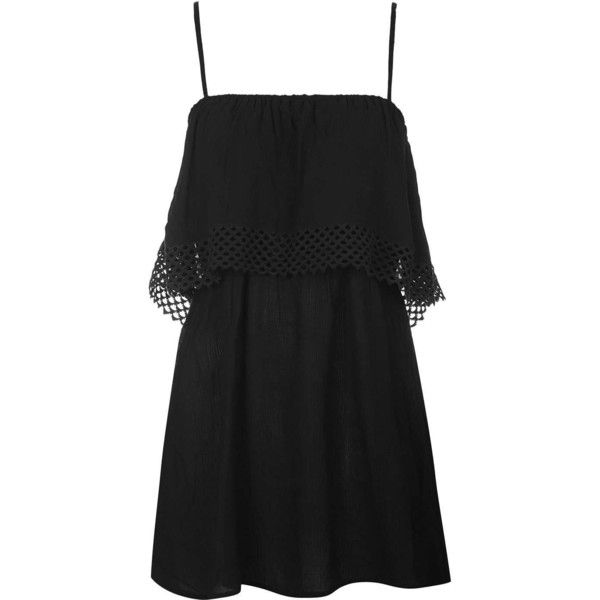 TopShop Crochet Overlay Sundress ($35) ❤ liked on Polyvore featuring dresses, black, strappy dress, jersey dress, black strappy dress, topshop dresses and black strap dress