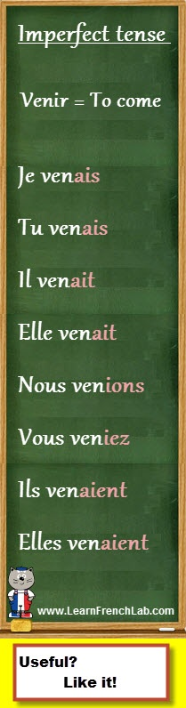 """http://www.learnfrenchlab.com   Learn French #verbs   How to conjugate """"venir"""" (to come) in the imperfect tense"""