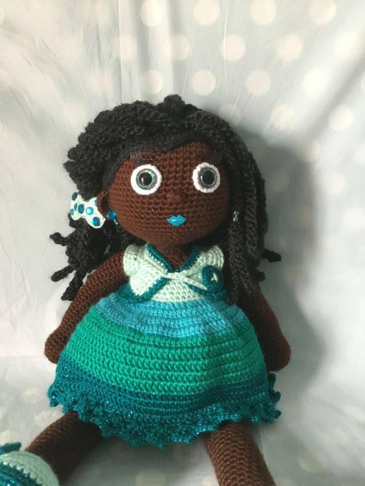 Crochet Doll African American Girl With Dreadlocks
