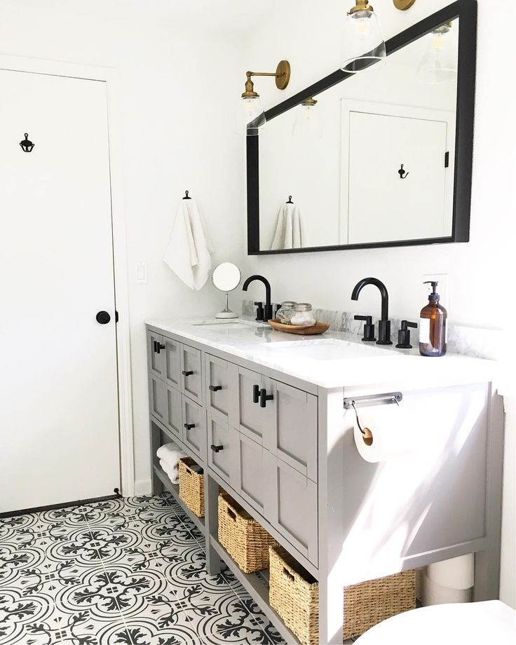 Grey vanity, black fixtures, patterned ceramic tile floor master bathroom