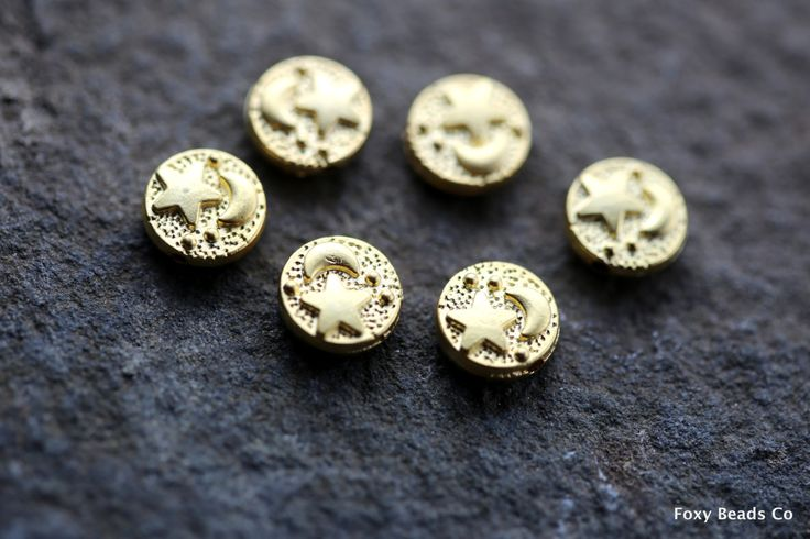 Celestial Bead Spacer, Moon And Star Beads, Gold Plated Beads Spacer Bead Findings Gold Bead Spacers Jewelry Findings Wholesale Beads SFG049 by FoxyBeadsCo on Etsy
