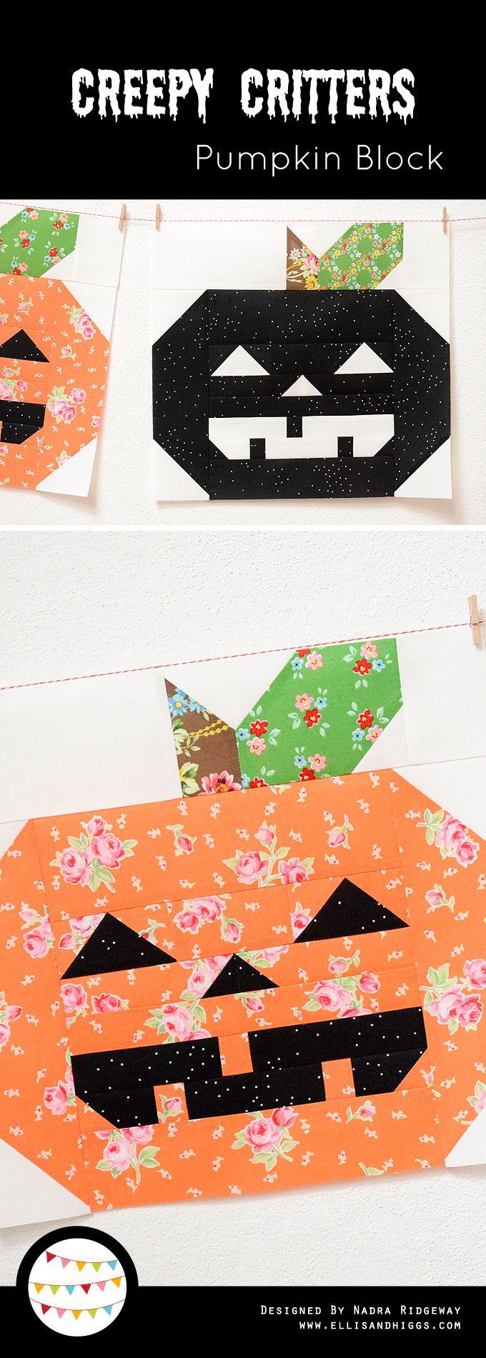 Creepy Critters Pumpkin Quilt Block by ellis & higgs