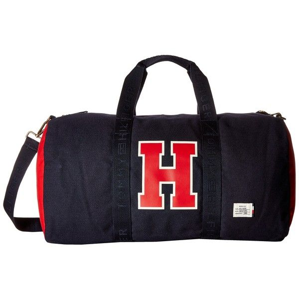 Tommy Hilfiger Weston Duffel (Navy/Red) Duffel Bags (305 BRL) ❤ liked on Polyvore featuring men's fashion, men's bags and men's duffel bags