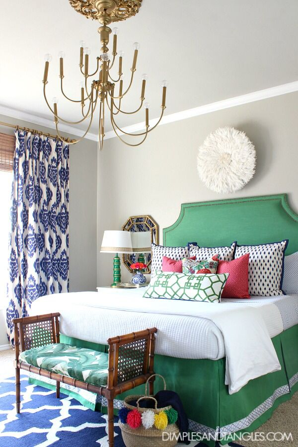 Kelly Green Navy and Pink Master Bedroom