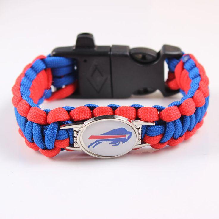 2017 Newest Football Team Buffalo Bills Survival Bracelet 4 in 1 Flint Whistle Outdoor Survival Gear Escape Paracord Bracelet