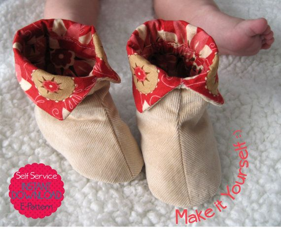 Free Baby Bootie Sewing Patterns | Baby Booties - PDF Sewing Pattern - Unisex Footwear - INSTANT DOWNLOAD