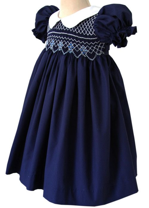 Beautiful+Bliss+Navy+Classic+Smocked+Girls+Dress+–+Carousel+Wear