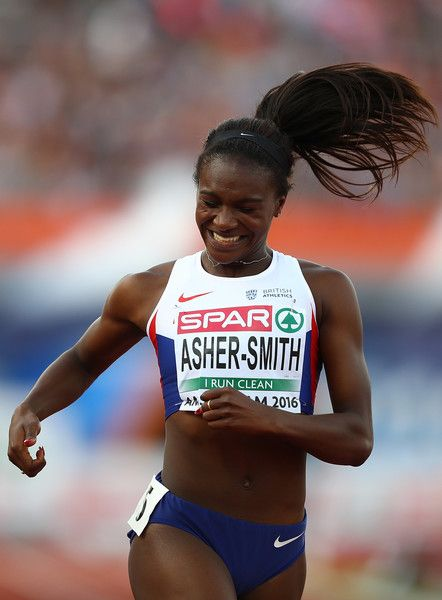 Dina Asher-Smith of Great Britain celebrates after winning gold in the womens 200m on day two of The 23rd European Athletics Championships at Olympic Stadium on July 7, 2016 in Amsterdam, Netherlands.