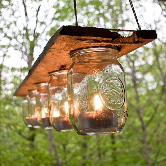 Outdoor Mason Jar and Wood Candle Chandelier by Reconsiderit, $40.00 Windlicht aus weckgläsern