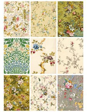 Jodie Lee Designs: Free Printable! Antique Flower Wallpaper Cards!