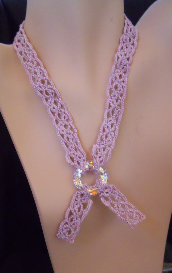 Breast Cancer Awareness Tatted Necklace by MummyearthDesigns