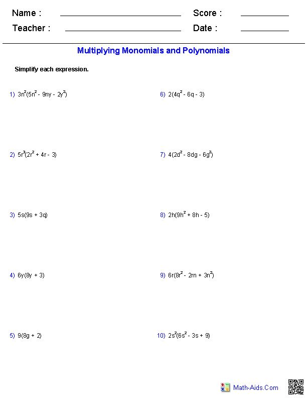 Multiplying And Dividing Polynomials Worksheet Davezan – Polynomial Multiplication Worksheet