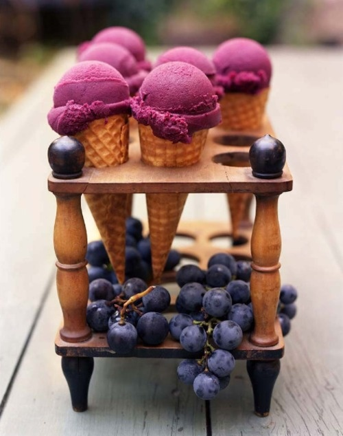Grape Ice Sorbet - Amazing recipe via Martha  Yield  Serves 10 to 12  Add to Shopping List  Ingredients    1 1/2 pounds Concord grapes (1 quart container)  1/4 cup water  2/3 cup Simple Syrup  1 1/2 tablespoons freshly squeezed lemon juice