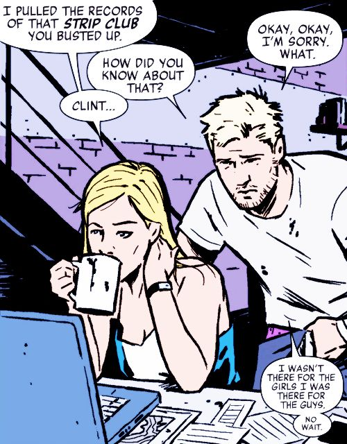 "Clint Barton is the Master of ""Wait, that came out wrong"". Hawkeye #15 And Renner is actually Barton."