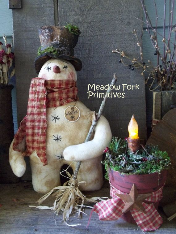 Primitive Winter Snowman Doll with Broom by MeadowForkPrims