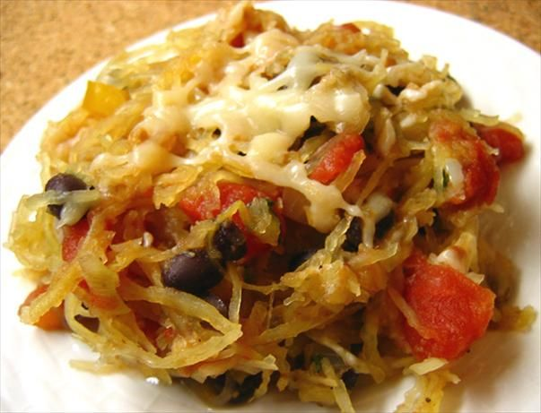 Southwest Spaghetti Squash-- I found this recipe in a Low-Carb cookbook. The sweetness of the squash mixes well with the spice of the other ingredients. Low-carb and vegetarian!