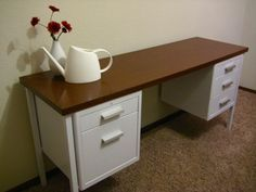 Metal Desk Makeover - Goodwill Outlet has metal desks for $15.