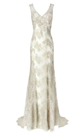 Phase Eight Antique Camellia Wedding Dress, Ivory/Silver