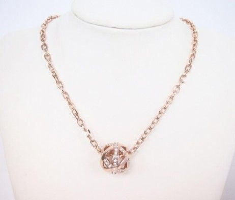 Rose Gold Necklace with crystals length of chain 35.5cm with 8 cm extended chain Nickel free, cambium free, lead free