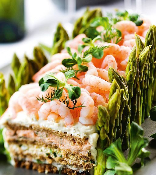 Finnish sandwich cake with asparagus and shrimp
