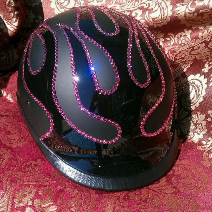 Bling your  Motorcycle Helmet to match your ride. We use Genuine Swarovski Crystals for the best sparkle and shine. Create your own design for your helmet or let us do it for you. Sparkle up your day with Custom Bling by Ricci~add Hot Pink Crystals to your Helmet