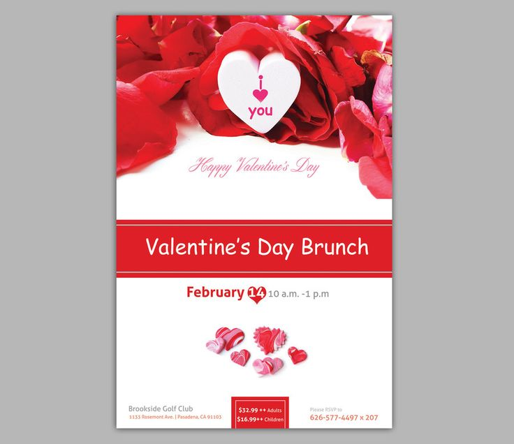 Valentine day flyer/poster design love red color by dgn92