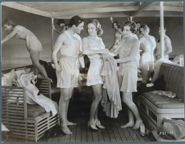 Joan Crawford and boyfriend, Lester Vail, stage wild yachting party in, Dance Fools Dance, an early Crawford picture, Metro Goldwyn Mayer, directed by Harry Beaumont in 1931