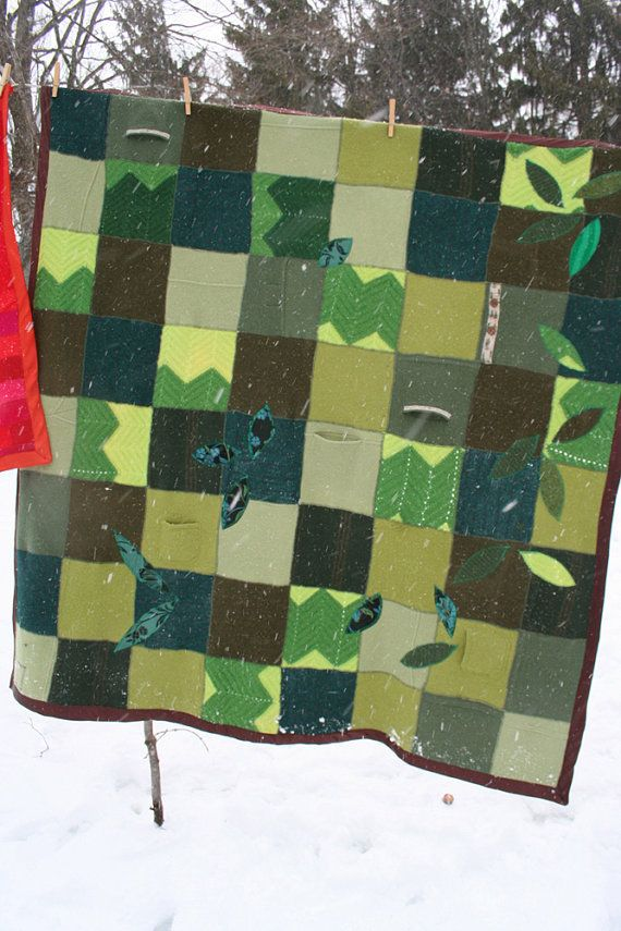 Woodland Spring - Recycled Wool and Cashmere Throw Blanket with applique.
