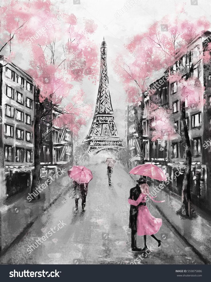Pink Cherry Blossom Wallpaper Hd Oil Painting Paris European City Landscape France