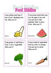 english worksheet food riddles feelings riddles reading worksheets kids nutrition. Black Bedroom Furniture Sets. Home Design Ideas