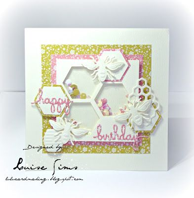 Honey Bee and Sentiments Three die sets from Spellbinders to create a shaker card.  Spellbloggers post - HapBee Birthday shaker card ~ Louise Sims Papercrafter  #spellblogger  #spellbinders  #neverstopmaking