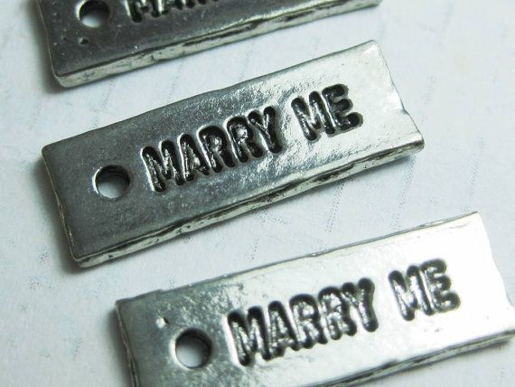 proposal MARRY ME Words  Love pewter charms x 4 by cooee on Etsy