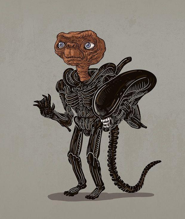 E.T. & Alien funny art find Personagens pop desmascarados. Ilustrações de Alex Solis;