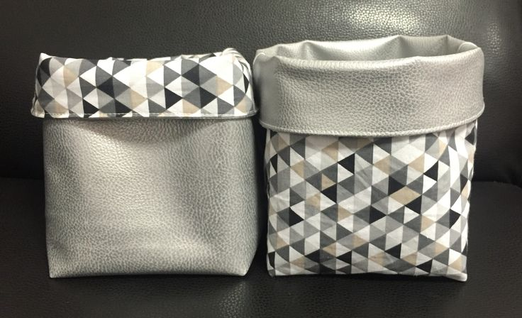 Panier de rangement en tissus coton et simili cuir                                                                                                                                                                                 Plus