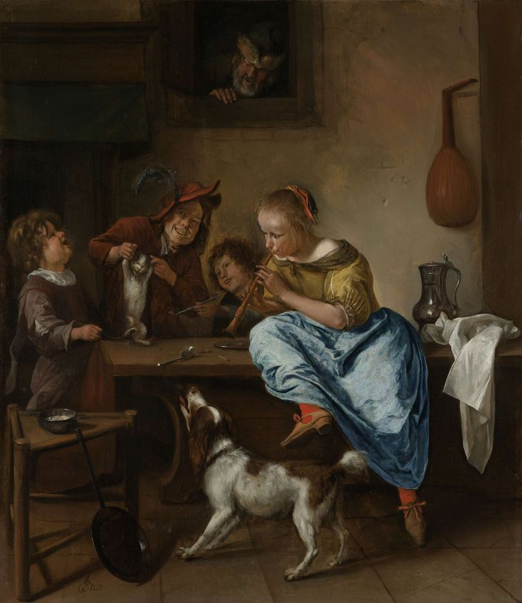 Children Teaching a Cat to Dance, Known as 'The Dancing Lesson', Jan Havicksz. Steen, 1660 - 1679