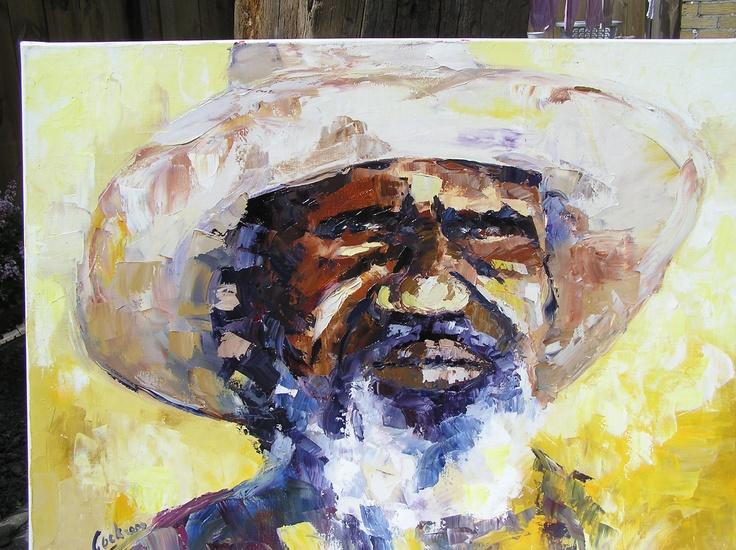 aboriginal oil on canvas by Cock van der Eng