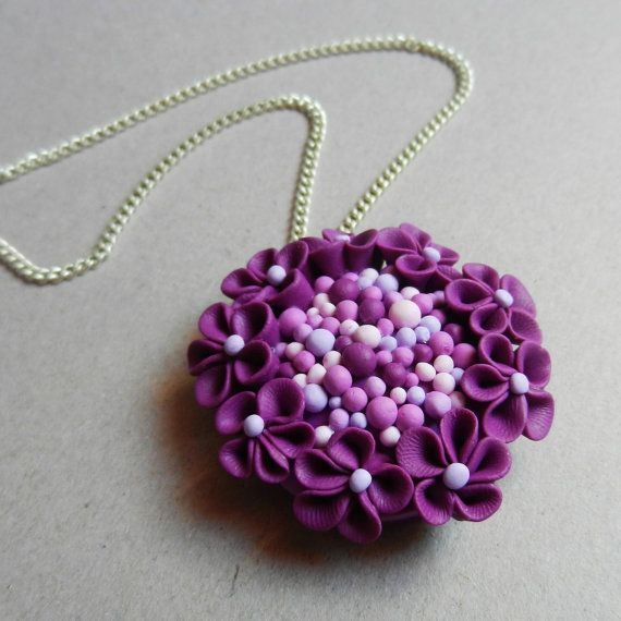 Romantic hand made polymer clay purple blossom pendant