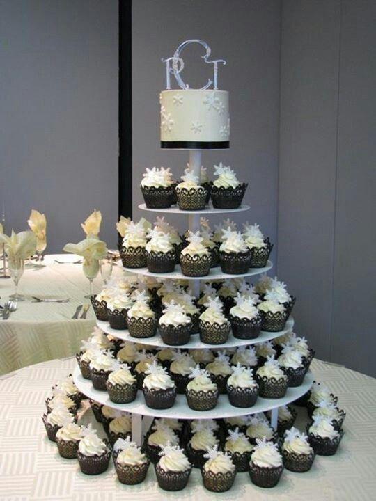 Tiered wedding cupcake cake
