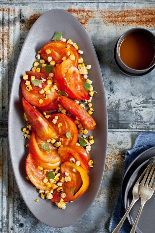 Tomato & grilled corn salad with Sriracha vinaigrette from Tartelette