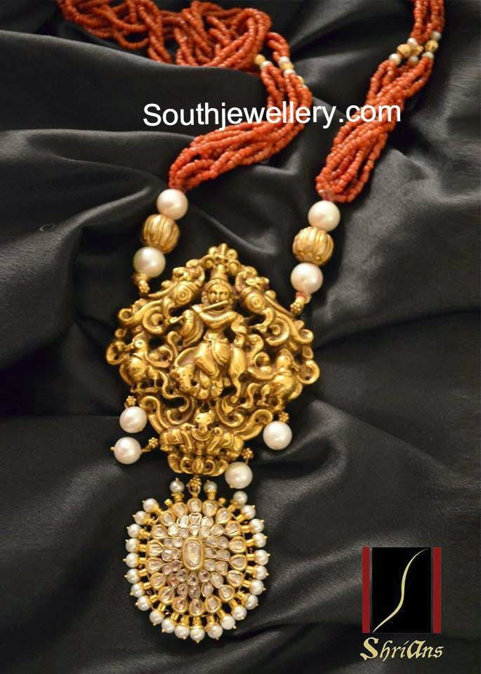 beads necklace with krishna pendant
