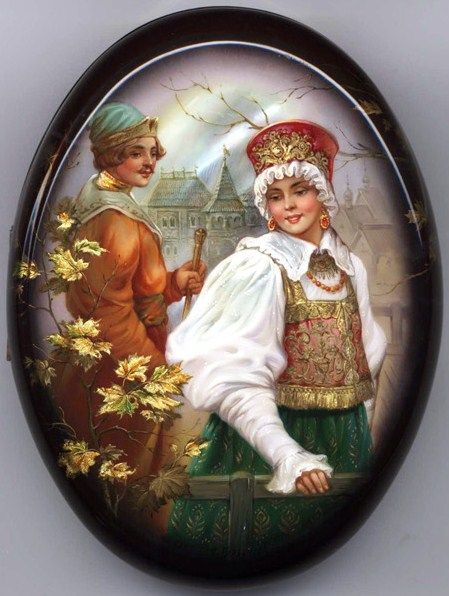 Russian lacquer miniature from the village of Fedoskino. A Russian beauty and a young handsome man.