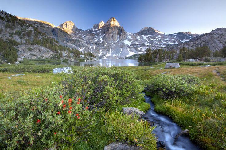 Nature, mountains, sky, lake, stream vektor